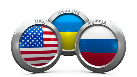 lugansk: Emblems USA, Ukraine and Russia are represented confrontation between USA and Russia, three-dimensional rendering