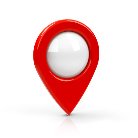 icon 3d: Red map pointer with blank center isolated on white background, three-dimensional rendering