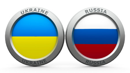 lugansk: Emblems Ukraine and Russia are represented confrontation between Ukraine and Russia, three-dimensional rendering