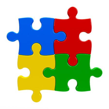 piezas de rompecabezas: Piezas abstractas rompecabezas aislados sobre un fondo blanco, representación tridimensional Foto de archivo