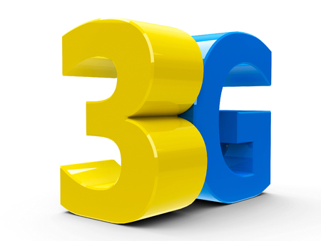 3g: Yellow and blue 3g symbol, icon or button isolated on white background, three-dimensional rendering