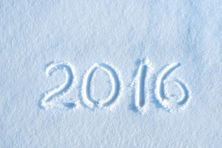 2016 written in snow, new year concept Stock Photo