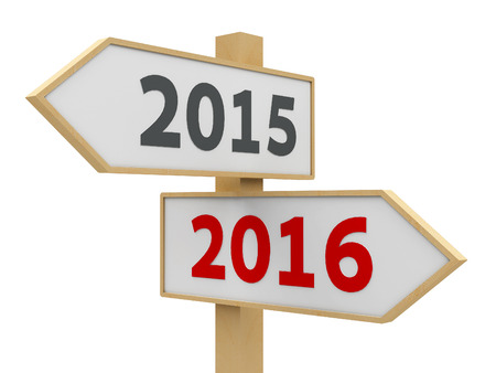 Road sign with 2015-2016 change on white background represents the new 2016, three-dimensional rendering photo