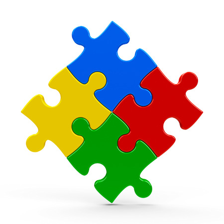Abstract puzzle pieces isolated on a white background, three-dimensional rendering