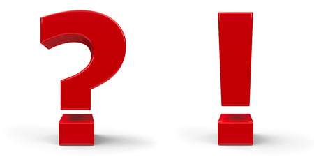 Red question mark and red exclamation point isolated on a white background, three-dimensional rendering