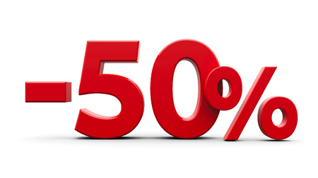 Red minus fifty percent sign isolated on white background, three-dimensional rendering photo