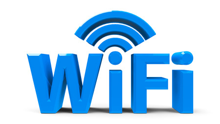 Wi Fi: Blue wifi symbol, icon or button isolated on white background, three-dimensional rendering