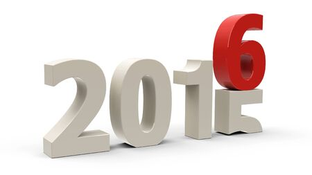 represents: 2015-2016 change represents the new year 2016, three-dimensional rendering Stock Photo