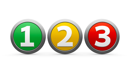 Icons numbers 1, 2, 3 (one, two, three) isolated on white background, three-dimensional rendering