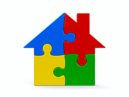 pieces: Abstract color puzzle house isolated on a white background, three-dimensional rendering