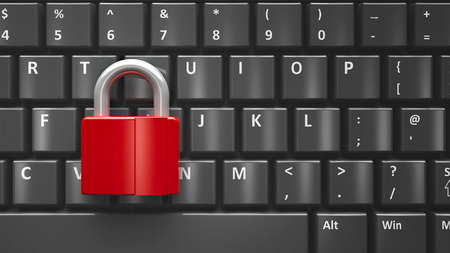 code lock: Red lock on the computer keyboard, three-dimensional rendering Stock Photo