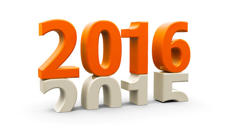 2015-2016 change represents the new year 2016, three-dimensional rendering Stock Photo