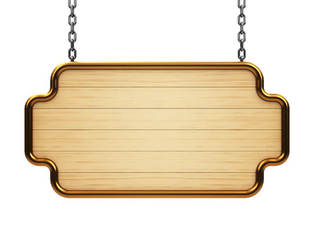 Wooden signboard on chain isolated on white background, three-dimensional rendering Banco de Imagens