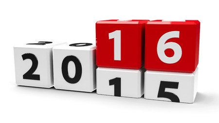 turns of the year: White cubes with 2015-2016 change on a white table represents the new 2016, three-dimensional rendering Stock Photo