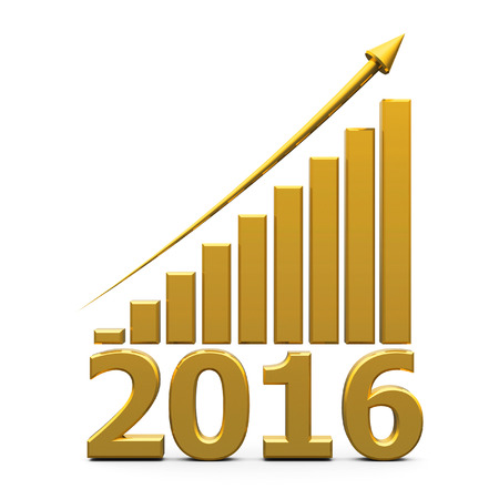 Gold business graph with gold arrow up represents the growth in 2016 year, three-dimensional rendering
