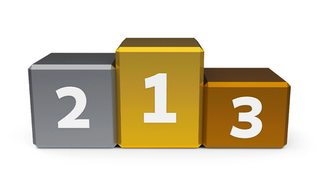 Metal podium with three rank places, three-dimensional rendering Stock Photo