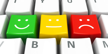 emotional: Computer keyboard with positive, neutral and negative keys, three-dimensional rendering Stock Photo