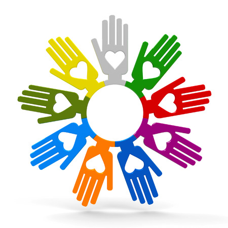 volunteering: Happy volunteering hands represent love, three-dimensional rendering Stock Photo
