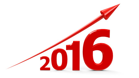 represents: Red arrow up represents the growth in 2016 year, three-dimensional rendering Stock Photo