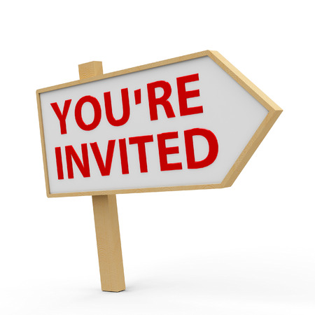 invited: You are invited white banner on white background, three-dimensional rendering
