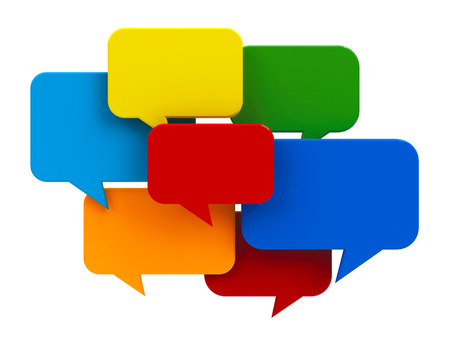messaging: Blank color speech bubble icons isolated on white background - represents internet messaging concept, three-dimensional rendering Stock Photo
