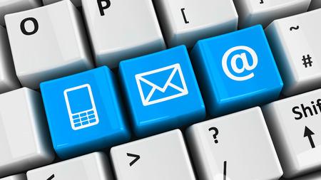 iletişim: Bilgisayar klavyesi üzerinde mavi temas tuşları, üç-boyutlu render Stok Fotoğraf