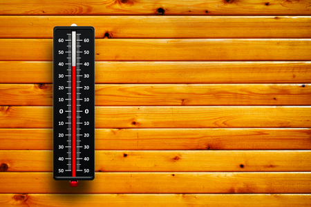 hotness: Three-dimensional rendering of thermometer indicates high temperature on wood texture with horizontal lumbers Stock Photo