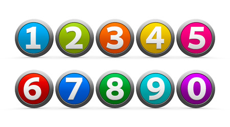 web 2 0: Color icons numbers set isolated on white background, three-dimensional rendering Stock Photo