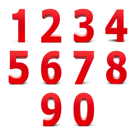 1: Red numbers set from 0 to 9 isolated on white background, three-dimensional rendering