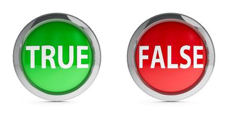 falso: Botones de Web verdadera y falsa aislados sobre fondo blanco, representación tridimensional Foto de archivo