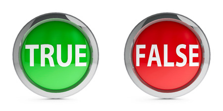 Web buttons true & false isolated on white background, three-dimensional rendering Banco de Imagens