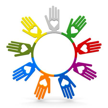 represent: Happy volunteering human hands represent love, three-dimensional rendering