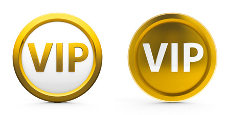 Web gold buttons vip isolated on white background, three-dimensional rendering photo