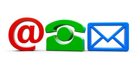 represents: Color contact symbols represents communication, three-dimensional rendering