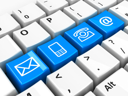 三次元コンピューターのキーボードで青い 4 つの接触キーを表示 写真素材