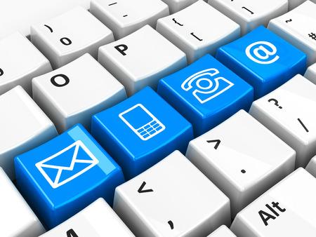correo electronico: Azul cuatro llaves de contacto en el teclado del ordenador, representación tridimensional