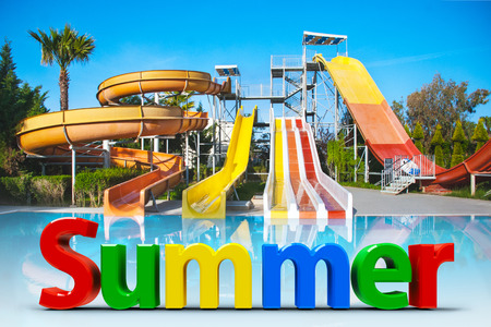 Three-dimensional rendering of word summer on background of aquapark Banco de Imagens