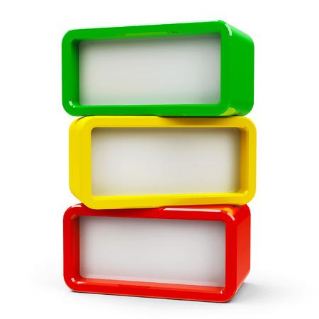 3 つのカラー長方形 - 立体を表す 3 つの手順を表示