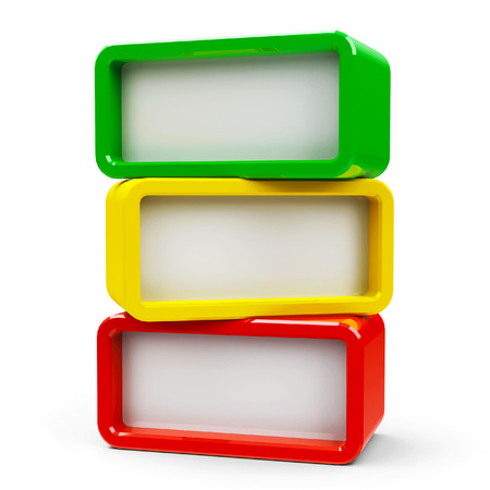 Three color rectangle - represents three steps, three-dimensional rendering Stok Fotoğraf - 41757039