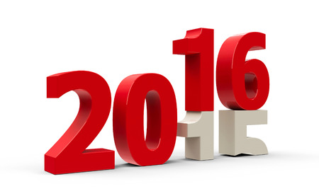 turns of the year: 2015-2016 change represents the new year 2016, three-dimensional rendering Stock Photo