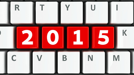 computer keys: Computer keyboard with 2015 keys, three-dimensional rendering Stock Photo