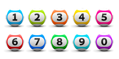 lottery: Color lottery balls set isolated on white background, three-dimensional rendering