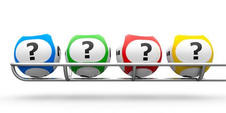 Bolas de la lotería con preguntas sobre una base de metal, representación tridimensional Foto de archivo