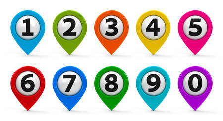 Color map pointers with numbers set isolated on white background, three-dimensional rendering