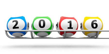 basis: Lottery balls on a metal basis represents the new 2016, three-dimensional rendering Stock Photo
