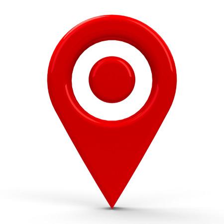 puntatore della mappa rosso con puntino in mezzo isolato su sfondo bianco, rendering tridimensionale