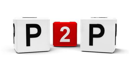peer to peer: cubos blancos y rojos - Intercambio de archivos - aislados en blanco, representación tridimensional