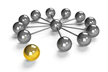 chromeplated: Twelve chromeplated balls around of one ball represent network, three-dimensional rendering