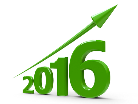 Green arrow up represents the growth in 2016 year, three-dimensional rendering