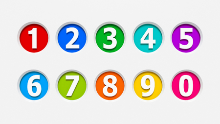 web 2 0: Color icons numbers set carved into the light gray surface, three-dimensional rendering